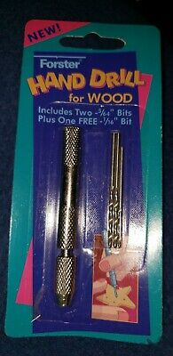 Forster Vintage Hand Drill for Wood Includes 3 Drill Bits NOS