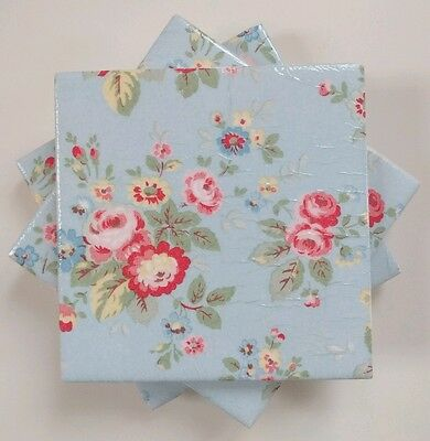 4 Shabby Chic Ceramic Coasters in Cath Kidston Trailing Floral in Blue