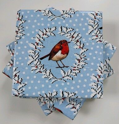 4 Shabby Chic Ceramic Coasters in Emma Bridgewater Christmas Wreath and Robin