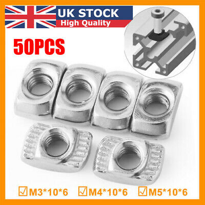 50Pcs M3/M4/M5*10*6 For 20 Series Slot T-nut Sliding T Nut Hammer Drop In Nut UK
