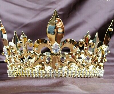 King Imperial Medieval Large Crystal Crowns And Tiara Full Gold Costumes Jewelry