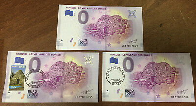 84 Gordes Bories Marseille 3 Billets 0 Euro Souvenir  2019 Zero Euro Schein Bank