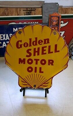 GOLDEN SHELL MOTOR OIL clam porcelain sign gas pump plate vintage brand gasoline