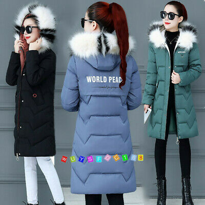 Women Girls Slim Long Warm Coat Down Jacket Thickened Hooded Fur Collar Winter