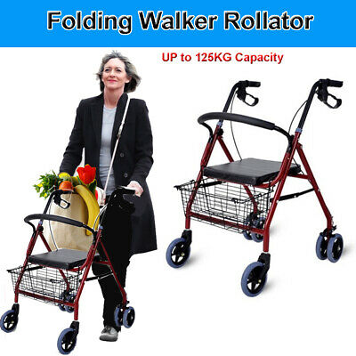Aluminum Foldable Rollator Walker Walking Frame Outdoor Aids Mobility Seat