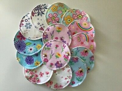 WASHABLE AND REUSABLE CLOTH NURSING BREAST PADS *7 Pairs / 14 Pads* FLORALS