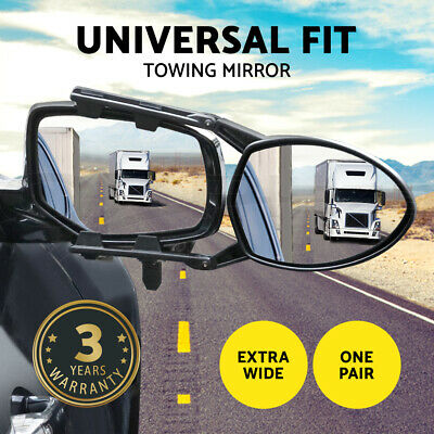 Towing Mirrors One Pair Heavy Duty Multi Fit Clamp On Towing Caravan 4X4 Trailer