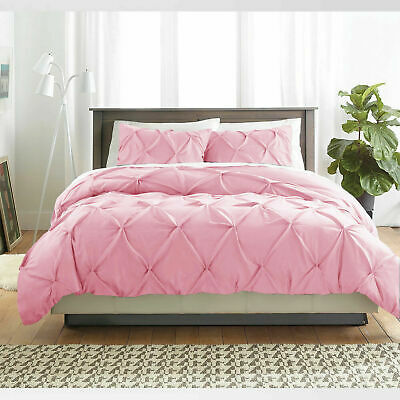 Luxury Pink Pintuck Duvet Cover Percale Cotton Quilt Set Single Double SuperKing