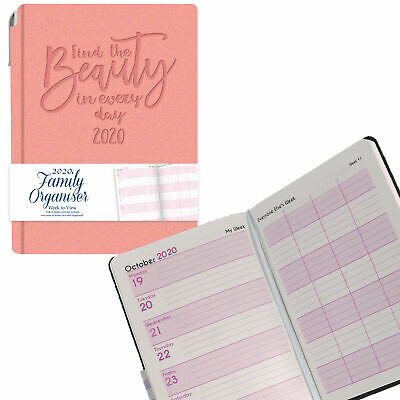 Tallon 2020 A6 Family Organiser Diary and Pen Soft Cover - Pink