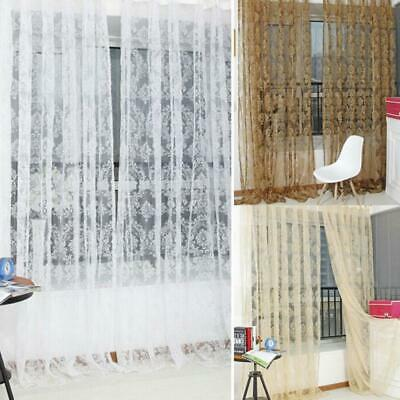 Vintage Voile Floral Embroidery Sheer Window Drape Flocking Curtains Net Curtain