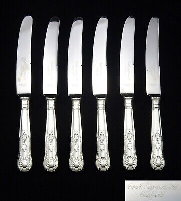 6 Heavy Vintage Smith Seymour Silver Plated Kings Pattern Table Dinner Knives