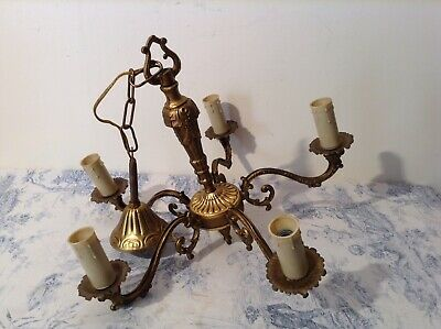 Vintage French 5 Arm Brass / Bronze Chandelier Ceiling Light (3666)