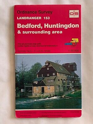 OS, Ordnance Survey Landranger map 153, Bedford & Huntingdon