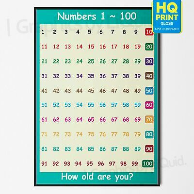 Practice Counting Educational Learn To Count 1 -100 Wall Poster *Laminated*