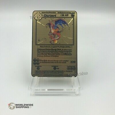 Carte Pokemon Gold Dracaufeu / Charizard Metal Gold Card Fan Made / EX GX