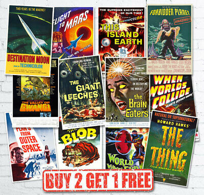 Vintage 1950's 40's Sci-Fi Space B Movie Monster Film Reproduction Posters