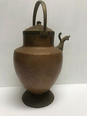 Antique Hand Hammered Italian Copper Pitcher w/Serpent Spout