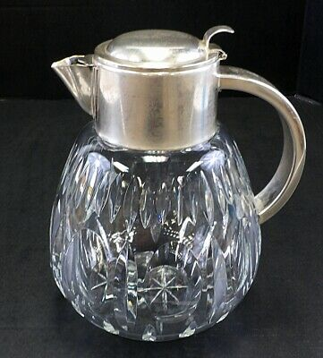 WW2 German Silver Plate Stein Lid Cut Glass Crystal Water Wine Carafe Pitcher