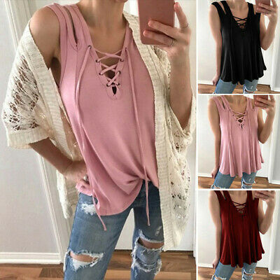 Summer Womens Sexy Sleeveless Hollow Out Tank Top V Neck Bandage Casual Blouse R