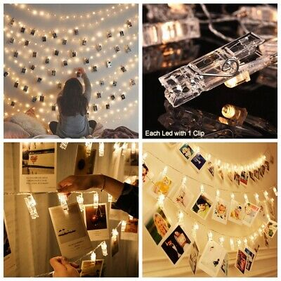 10/20/40 LED Photo Window Hanging Peg Clips Fairy String Lights Party Wedding UK