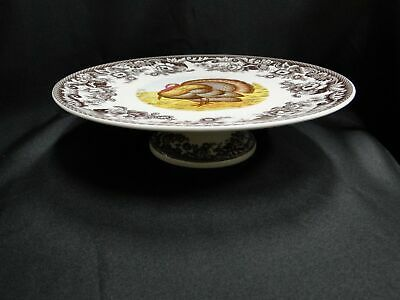 """Spode Woodland Turkey Game Bird: NEW Footed Cake Plate (s), 10 3/4"""", Box"""