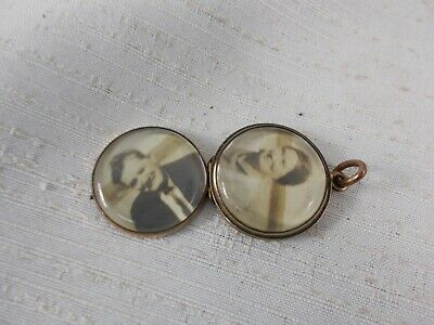 Estate Watch Fob Photo Locket Double Sided Hinged Magnifying Convex Glass