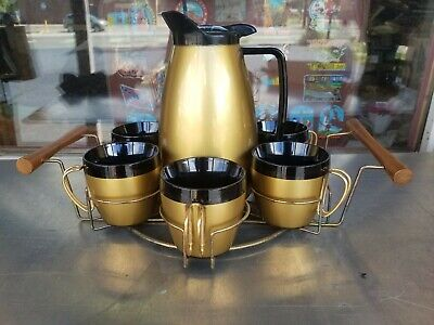 Vtg Mid Century Mod NFC Black & Gold Coffee Set 6 Cups Carafe Pot with Tray MCM
