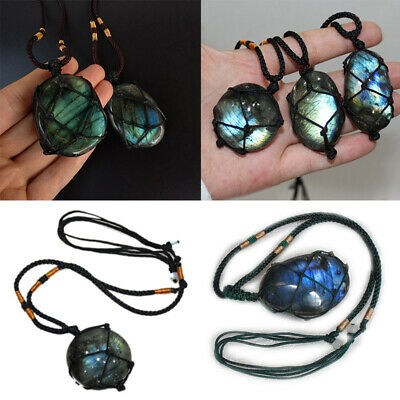 Natural Labradorite Pendant Crystal Necklace Reiki Healing Moonstone Jewelry
