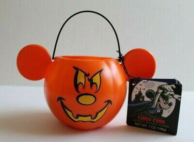 Disney Parks 2019 Small Halloween Pumpkin Mickey Mouse Candy Corn Bucket NEW