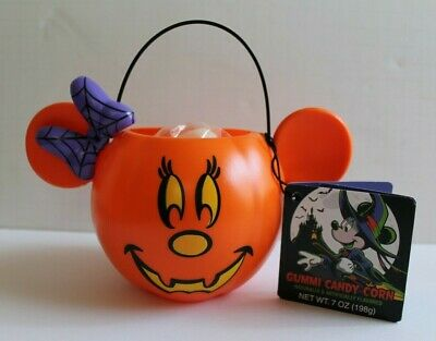 Disney Parks 2019 Small Halloween Pumpkin Minnie Gummi Candy Corn Bucket NEW
