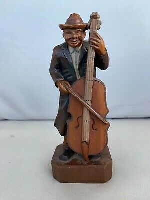 Black forest wooden carved antique musician Cello player folk art gypsy?