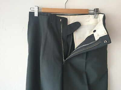 ORIGINAL VINTAGE DEADSTOCK 1940S MEN'S GREY METAL ZIP FLY PANTS W29(31)  x 31