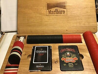 Vintage Marlboro Poker Set 2 Jack Daniels Cards & Chips Wooden Oak Box COMPLETE