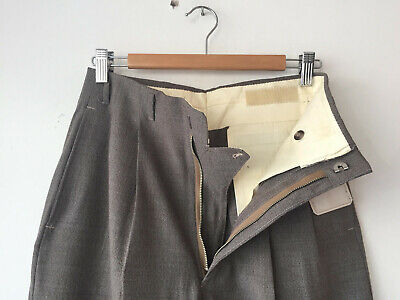 Original Vintage Deadstock 1940S Men's Brown Hollywood Waist Pants W29(32)X30.5