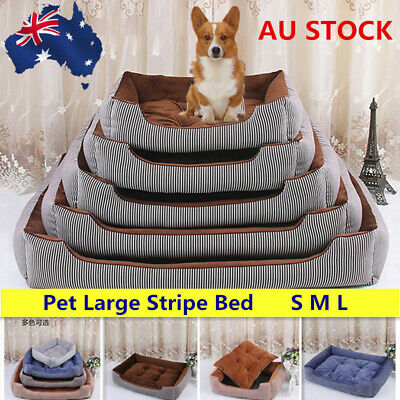 Pet Dog Cat Washable Stripe Bed Puppy Cushion House Soft Warm Kennel Mat Blanket