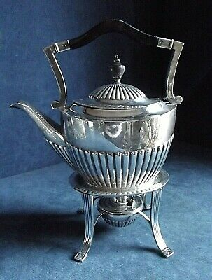 """SUPERB Large 11"""" ~ SILVER Plated ~ Spirit KETTLE on Stand ~ c1910 by John Yates"""
