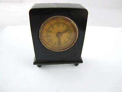 Miniature green mantle clock tape measure Bakelite German 1900 doll house
