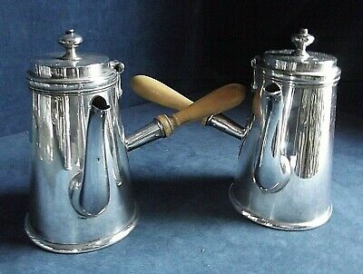 SUPERB Pair ~ Sheffield SILVER Plated ~ COFFEE POTS ~ c1860 by Buxton & Russel
