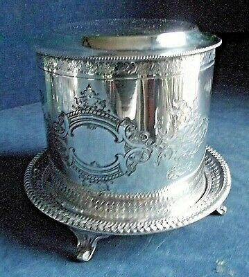 SUPERB Large ORNATE ~ SILVER Plated ~ BISCUIT BOX ~ c1900