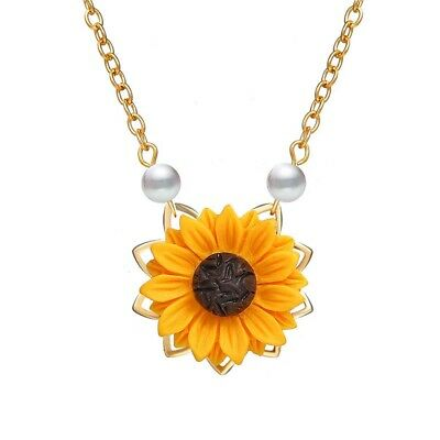 Fashion Imitation Pearl Sunflower Necklaces Pendant For Women Choker Jewelry