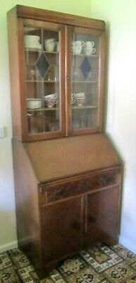 Antique 1940 Writing Bureau Bookcase Stained Glass Doors Ideal Shabby Chic Paint