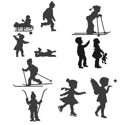 Skiing Child Metal Cutting Dies Stencil Scrapbooking Paper Card Crafts Embossing