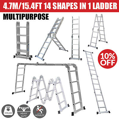 14 Shapes in 1 4X4 Ladder Extension Ladder Multi Purpose Heavy Duty 4.7M/15.4FT