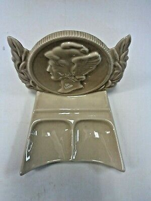 McCoy POTTERY CERAMIC MERCURY DIME SAVING BANK OF BROOKLYN, BANK AND DESK CADDY