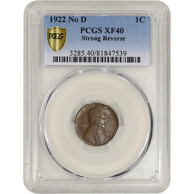 1922 No D US Lincoln Wheat Cent 1C - PCGS XF40 - Strong Reverse