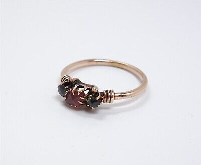 Charming Estate Found Antique 19th Century Solid Gold Green & Red Stone Ring