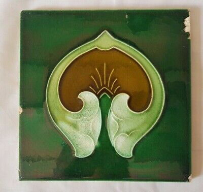English Art Nouveau Victorian 6 Inch Tile, Jugendstyl