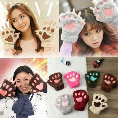14Colors Women Fluffy Lovely Warm Fingerless Gloves Plush Bear Cat Paw