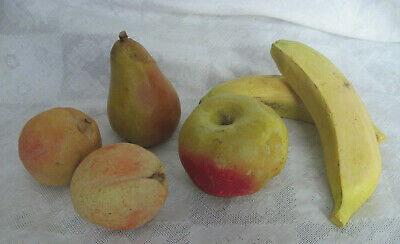 6 Primitive STONE FRUIT Hand Carved Italy Vintage Pear Apple Apricot Banana
