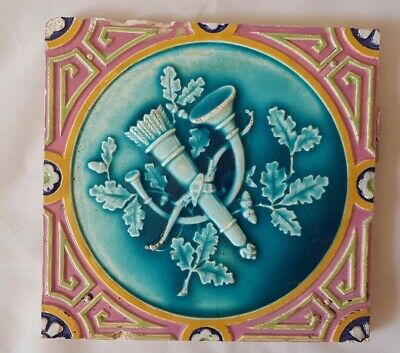 Charming Minton Majolica Victorian Musical Themed Tile  19Th Century